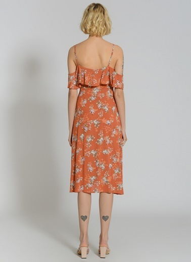 People By Fabrika Volanlı Kol Detaylı Elbise Kiremit